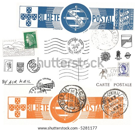 vintage postcard symbols and stamps - stock photo