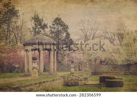 Vintage postcard textured effect of lovely garden path covered and marble gazebo - stock photo