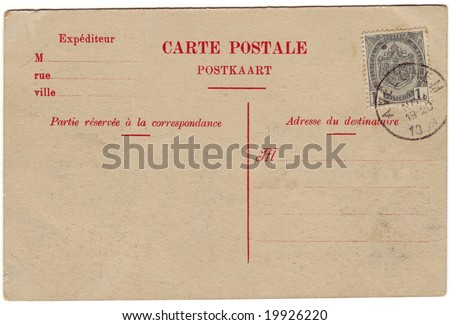 Vintage postcard with a stamp from Avelgem. Room to add the address of destination and a message . - stock photo
