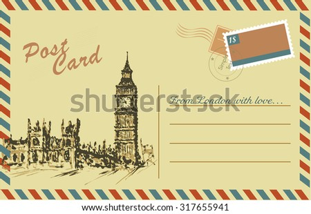 Vintage postcard with Big Ben,watercolor hand drawing