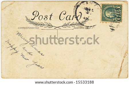Vintage postcard with Christmas and New Years greeting. - stock photo