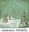 vintage postcard with Christmas trees, snow (JPEG version) - stock vector