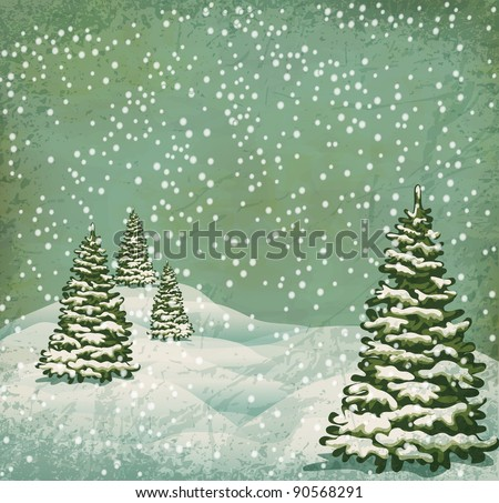 vintage postcard with Christmas trees, snow (JPEG version) - stock photo