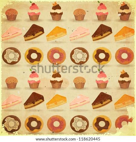 Vintage Poster - Dessert Background, pastry on grunge paper - JPEG version - stock photo