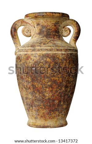 Vintage Pottery isolated over a white background - stock photo