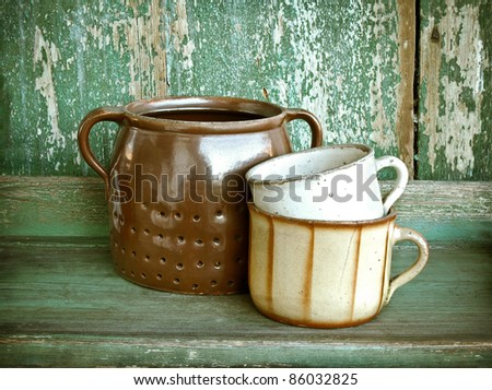 Vintage pottery pots - stock photo