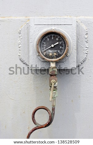 Vintage Pressure Gauge - stock photo