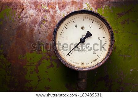 Vintage pressure meter  - stock photo
