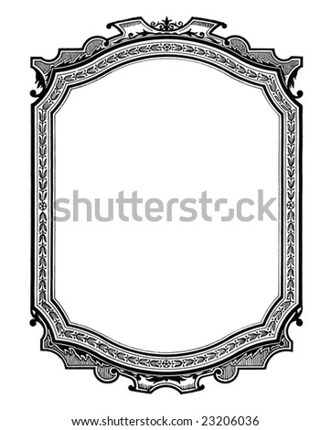 Vintage printed  frame, beginning of 20 century. - stock photo