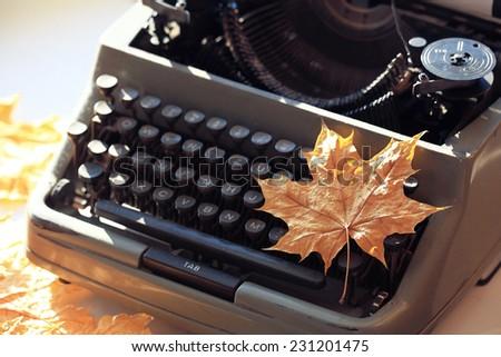 vintage printing machine - stock photo