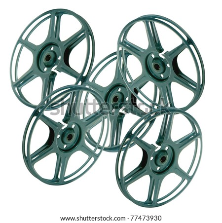 vintage projector wheels on a white background - stock photo