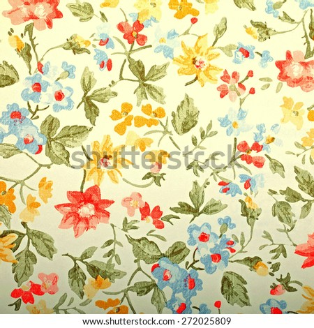 Vintage provance wallpaper with floral pattern. Square toned image, instagram effect - stock photo