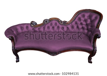 Vintage purple armchair on white with clipping path - stock photo