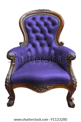 vintage purple leather armchair on white with clipping path - stock photo