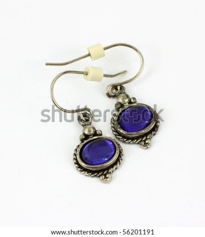 Vintage Purple Stone Earrings