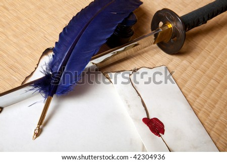 Vintage quill with japanese sword and parchment letter - stock photo