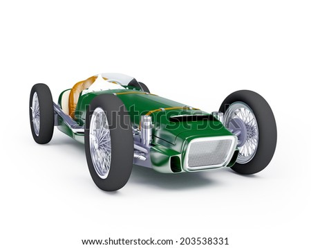 Vintage racing car of fifties, green color on a white background - stock photo