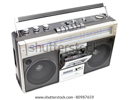 Vintage radio cassette recorder isolated on white, open cassette deck - stock photo
