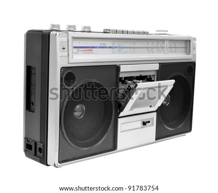 Vintage radio cassette recorder with open cassette deck, isolated on white background - stock photo