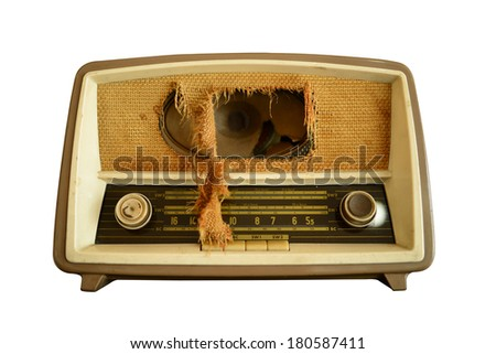 Vintage radio clipping path - stock photo