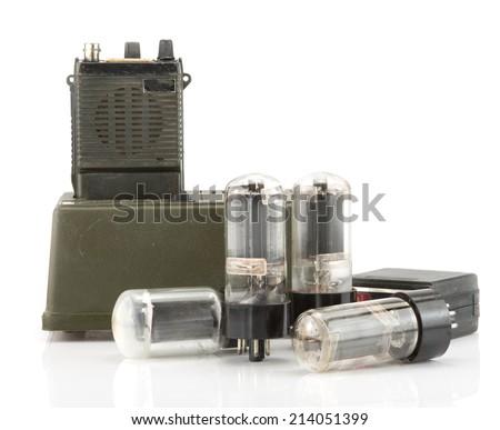 Vintage radio communication with electron tube isolate on white ,retro technology - stock photo