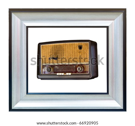 vintage radio in modern photo frame isolated on white background
