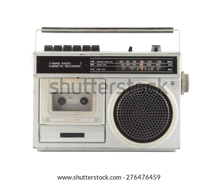 Vintage Radio isolate on white ,retro technology-clipping path  - stock photo