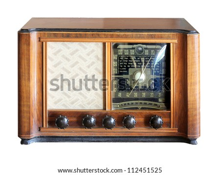 Vintage radio isolated - stock photo