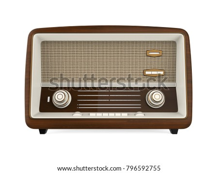 Vintage Radio Isolated. 3D rendering