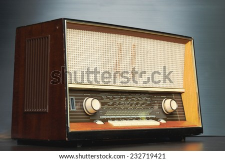 Vintage radio isolated on agray background - stock photo