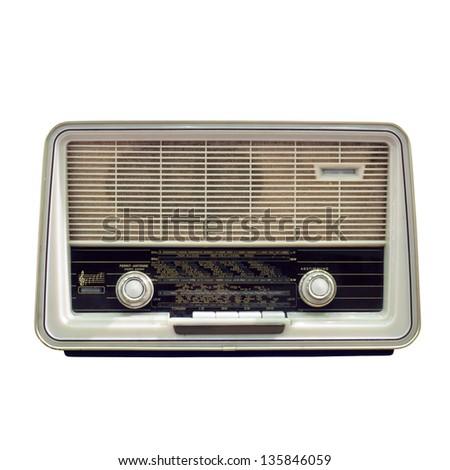 Vintage Radio Isolated On White Background - stock photo