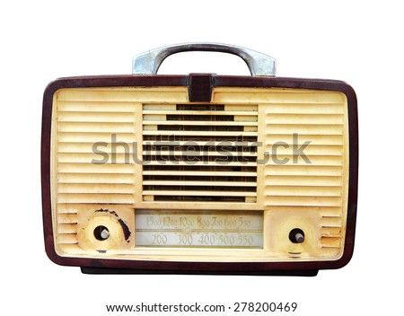 Vintage radio isolated over white background, clipping path. - stock photo