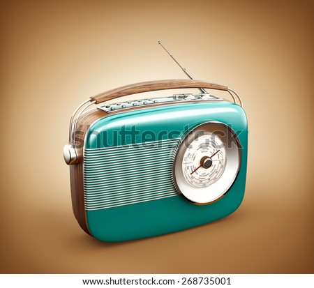 Vintage radio on brown background - stock photo
