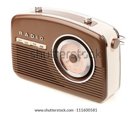 Vintage Radio On White Background - stock photo