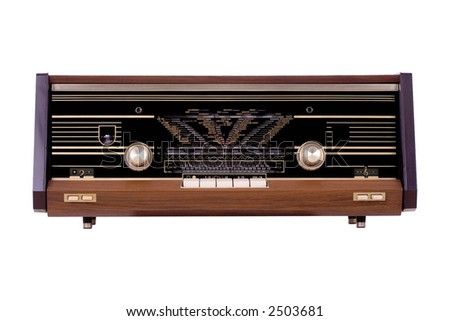 Vintage radio over white background - stock photo