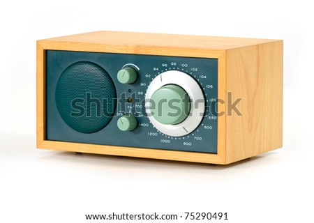 Vintage radio over white background. - stock photo