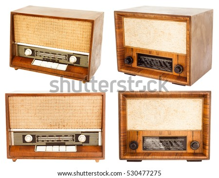 vintage radio set isolated on white