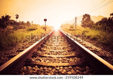 vintage railroad - stock photo