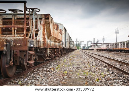 vintage railroad at the station - stock photo