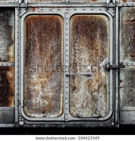 Vintage railroad container door - stock photo