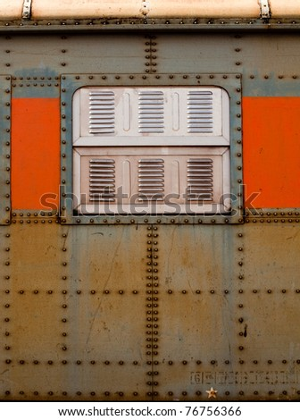 Vintage railroad container doors with rusty and old color. - stock photo