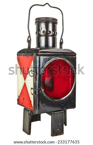 Vintage railway lantern isolated on a white background - stock photo