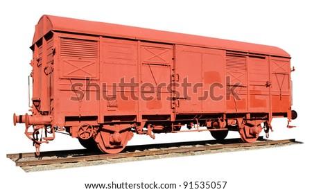 vintage railway wagon isolated - stock photo