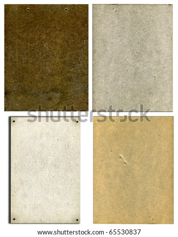 Vintage Real Cardboard Set Isolated On White Background - stock photo