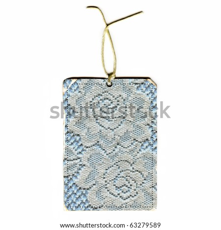 Vintage Real Lace Roses Tag And String Isolated On White Background - stock photo