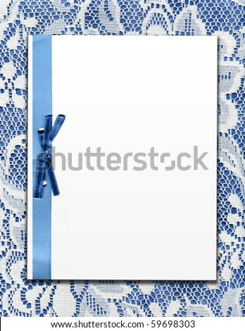 Vintage Real Lace With Bow And Copy Space Template - stock photo