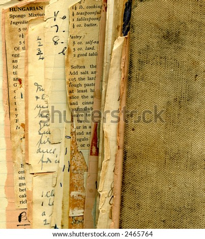 Vintage recipes and cookbook - stock photo