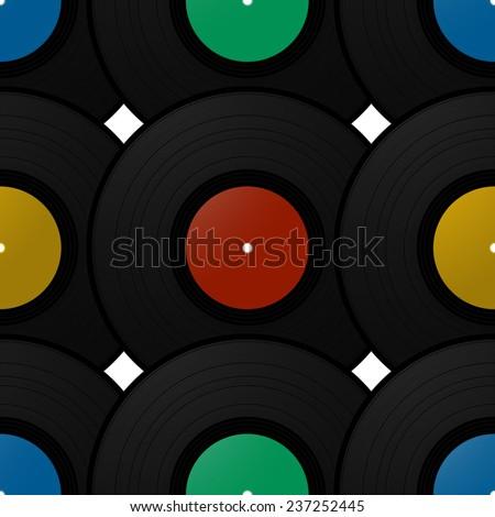 Vintage record disk wallpaper pattern - stock photo