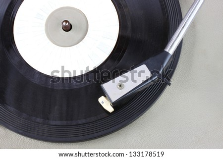 Vintage record player close up. vintage gramophone. - stock photo