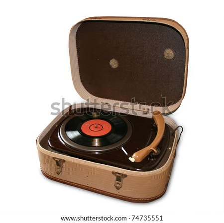 Vintage record player. Isolated on white. - stock photo